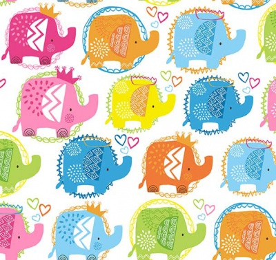 Ellie Elephants Pink Cotton