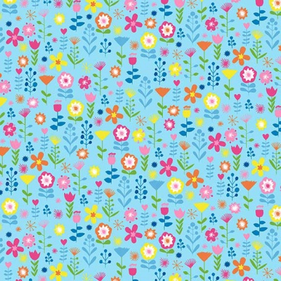 Ellie Floral Blue Cotton