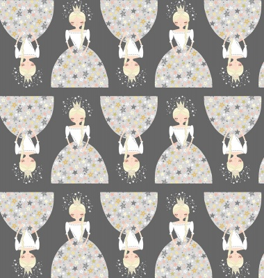 Ever After Princesses Grey Cotton