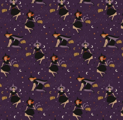Fab-Boo-Lous Witches Purple Cotton