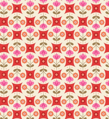 Flower Child Fab Floral Circles on Red Cotton