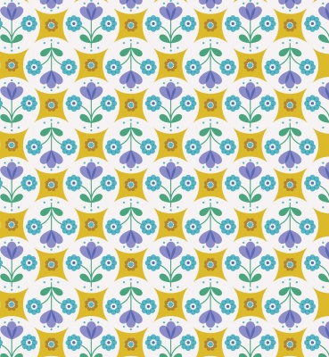 Flower Child Fab Floral Circles on Yellow Cotton