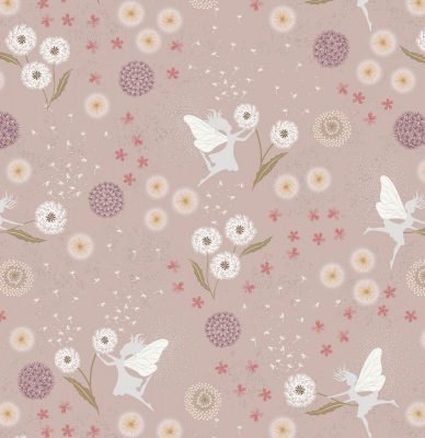 Fairy Clocks on Warm Linen with Silver Metallic Cotton