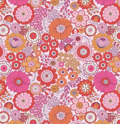 Flower Child Far Out Floral Pinks Cotton