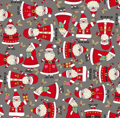Festive Santa Grey Metallic Cotton
