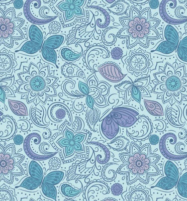 Floral Flow on Blissful Blue Cotton