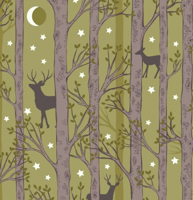 Nighttime in Bluebell Forest Deer Leaf Green Cotton
