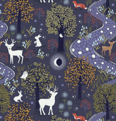 Nighttime in Bluebell Wood Glow in the Woods Midnight Blue Cotton
