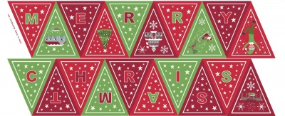 Glow Bunting Red Green Panel