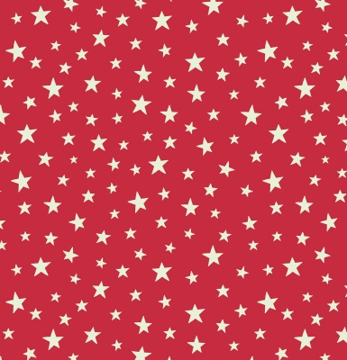 Glow Stars on Red Cotton
