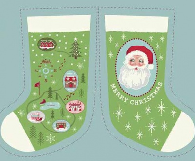Green North Pole Stocking & Envelope Panel