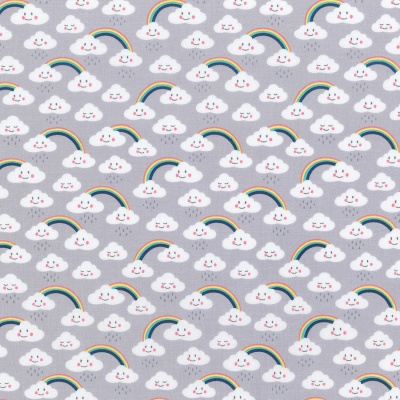 Daydreamer Grey Couds & Rainbows Cotton