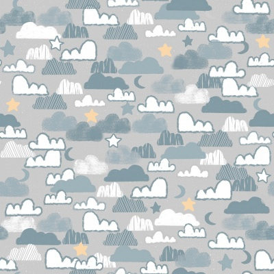 Little Lion Grey Night Sky Cotton