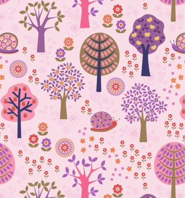 Flower Child Groovy Forest on Pink Cotton