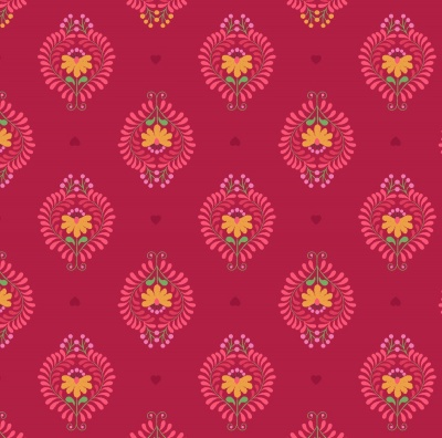 Heart Floral on Deep Rose Cotton