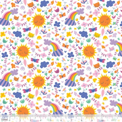 Happy Skies Sunshine and Rainbows White Cotton
