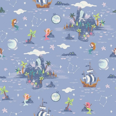 Neverland Island Periwinkle Cotton