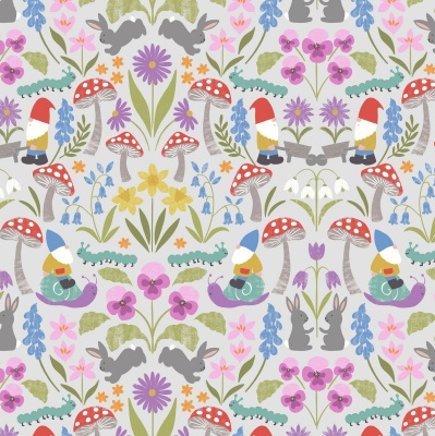 Jolly Spring On Light Grey Cotton
