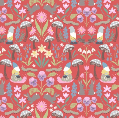 Jolly Spring On Red Cotton