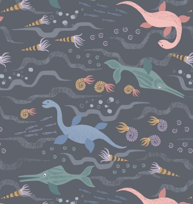 Jurassic Sea On Charcoal Cotton