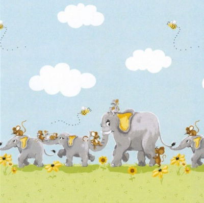 Knightly The Elephant Border Cotton