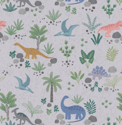 Land Dinos On Grey Cotton