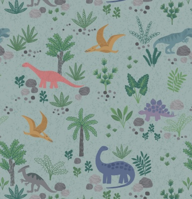 Land Dinos On Grey Green Cotton
