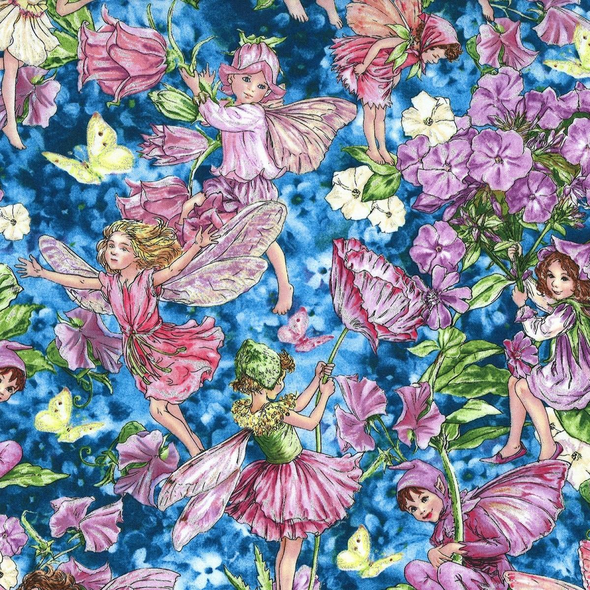 Michael Miller Fabric Dawn Fairies Sky HALF METRE