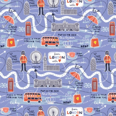 London Map Lavender Cotton