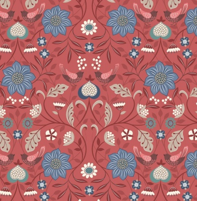 Michaelmas Little Bird Floral on Soft Red Cotton