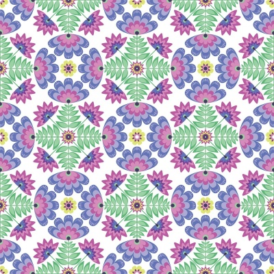 Lucy's Garden Tile Purple Cotton