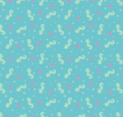 Merryn Seahorses Blue Cotton
