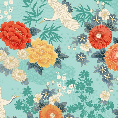 Michiko Large Floral Turquoise Cotton Metallic