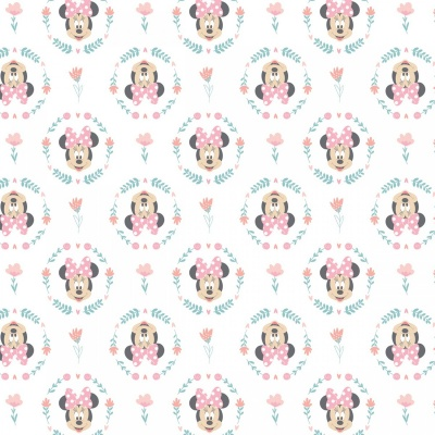 Minnie Mouse Pink Wildflowers Cotton