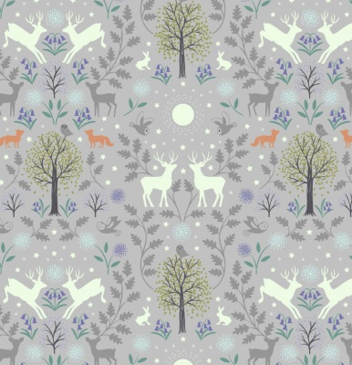 Nighttime in Bluebell Wood Mirrored Woodland on Grey Cotton