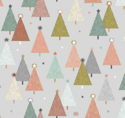 Modern Metallic Trees Grey Cotton