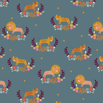 Meadow Safari Lions Teal Cotton