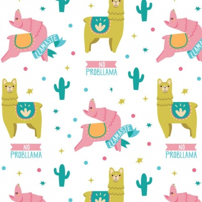 Very Punny Multi Llamas Cotton