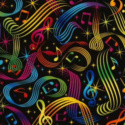 Multi Music Notes Cotton