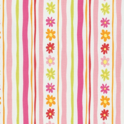 Pandas Pink Daisy Stripe Cotton