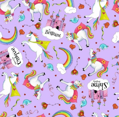Party Unicorns Toss Lilac Cotton