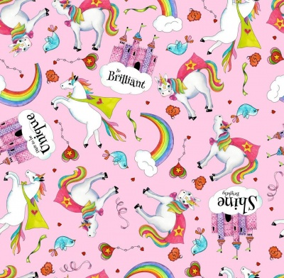 Party Unicorns Toss Pink Cotton