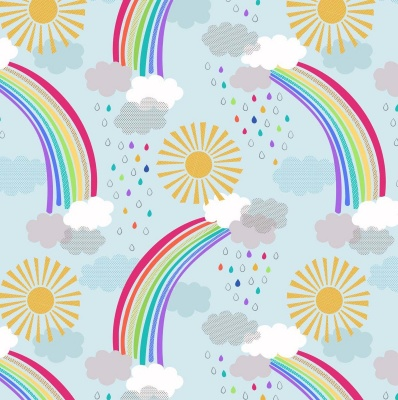 Rainbows Pastel Rainbows on Light Blue Cotton