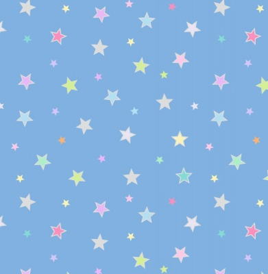 Rainbows Pastel Stars With Silver Metallic Cotton
