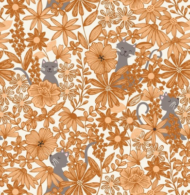 Purrfect Petals Amber Cotton