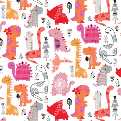 Play Time Dinosaur Pink Cotton