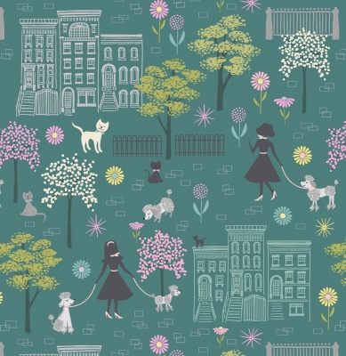 Poodle in the Park on Dark Jade Cotton