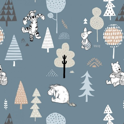 Pooh Forest Friends Dark Blue Cotton