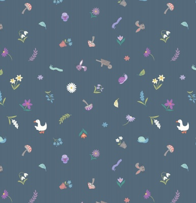 Pretty Little Spring on Dark Blue Cotton