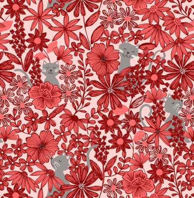 Purrfect Petals Red Cotton